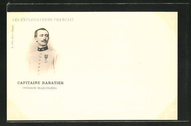 AK Les Explorateurs Francais, Capitaine Baratier, Mission Marchand, Soldat in Uniform