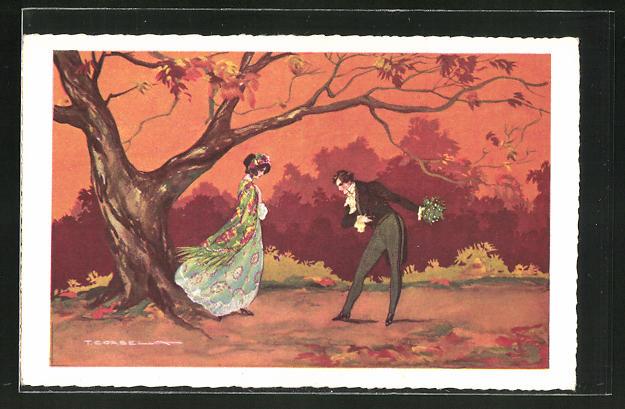 Künstler-AK Tito Corbella: Mann verbeugt sich vor Frau unter Baum