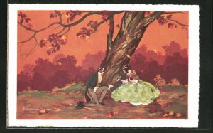 Künstler-AK Tito Corbella: Mann kniet nieder vor Frau unter Baum