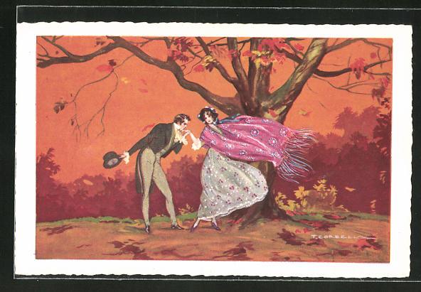 Künstler-AK Tito Corbella: Mann gibt Frau Handkuss unterm Baum