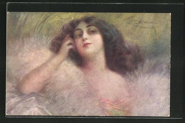 Künstler-AK G. Guerzoni: schöne Frau mit Pelzmantel