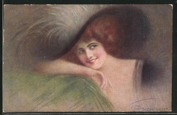 Künstler-AK G. Guerzoni: schöne Frau mit Hut lehnt ihren Kopf auf ihren Arm