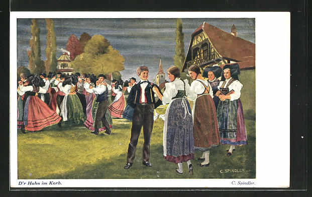 Künstler-AK sign. C. Spindler: junger Mann bei einem Dorffest von vielen hübschen Mädchen umschwärmt