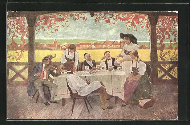Künstler-AK sign. C. Spindler: Mann mit Geige unterhält Gäste am Tisch