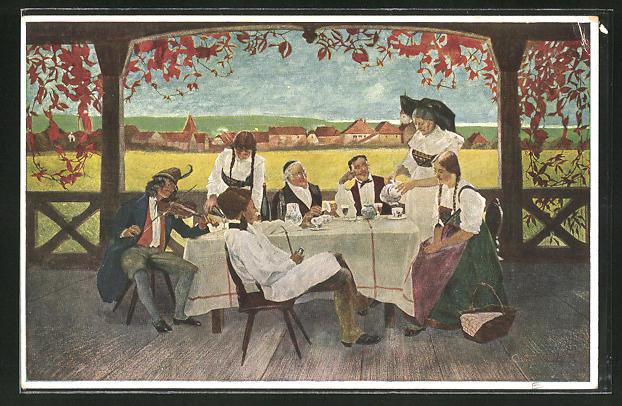 Künstler-AK sign. C. Spindler: junger Mann mit Geige unterhält Gäste in einem Gartenlokal