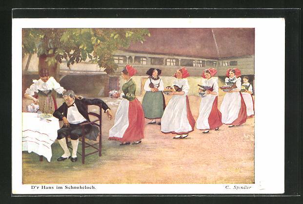 Künstler-AK sign. C. Spindler: junge Mädchen in Tracht bedienen einen Mann am Tisch
