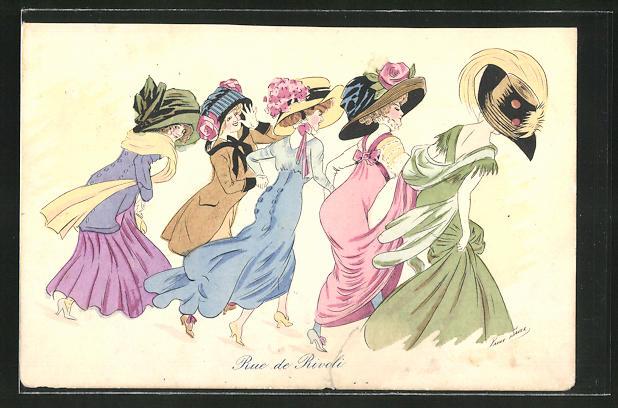 Künstler-AK Xavier Sager: fünf junge Frauen in toller Garderobe mit Hut