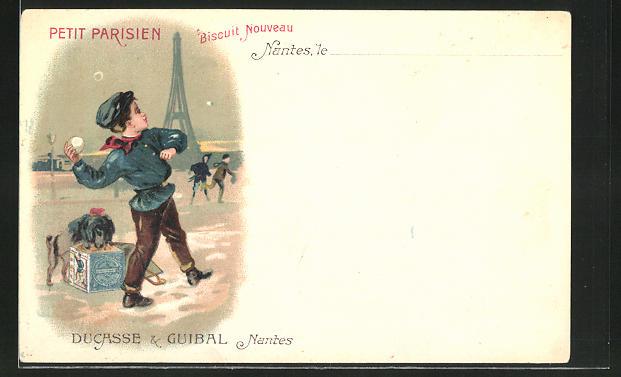AK Nantes, Junge wirft Schneeball, Hund an Schachtel Pariser Kekse