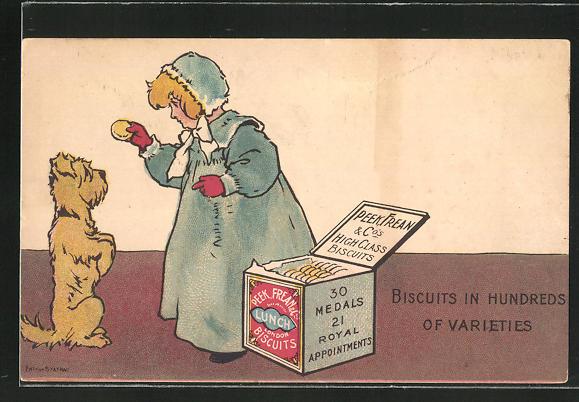 AK kleines Mädchen gibt dem Hund ein Keks aus der Schachtel