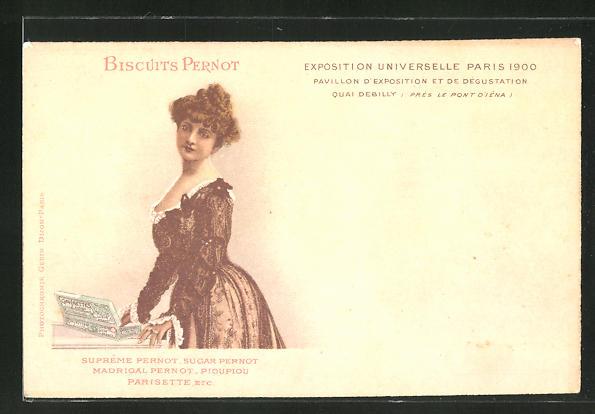 AK Paris, Exposition universelle de 1900, Frau mit Keksen, Biscuits Pernot