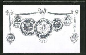 Präge-AK Münzen aus Uruguay