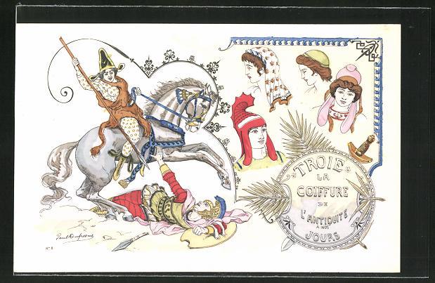Künstler-AK sign. Paul Dufresne: Friseur, Reiter bekämpft Krieger, Frauen mit antiker Frisur