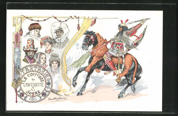 Künstler-AK sign. Paul Dufresne: Friseur, Frisuren der Antike, Krieger zu Pferde