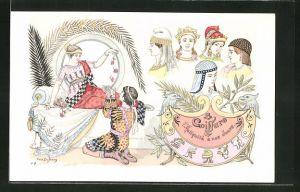 Künstler-AK sign. Paul Dufresne: Friseur, Frauen mit Frisuren der Antike