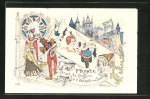 Künstler-AK sign. Paul Dufresne: Friseur, Mann mit Instrument und Frauen mit antiken Frisuren