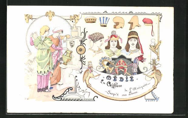 Künstler-AK sign. Paul Dufresne: Friseur, Frauen beim Wasserholen, Frisuren der Antike