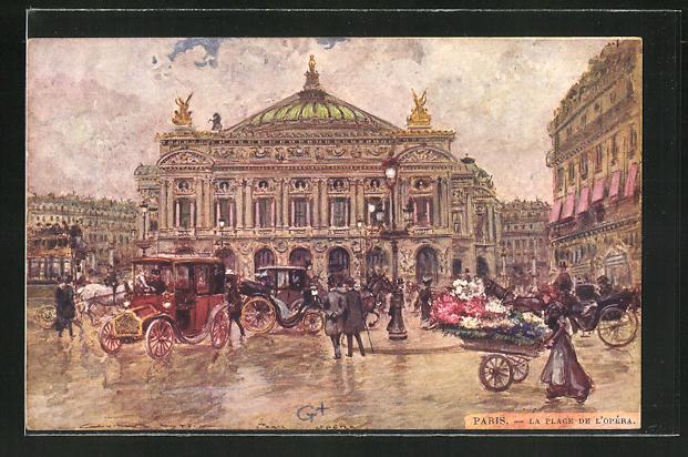 Künstler-AK Georges Stein: Paris, La Place de L' Opera