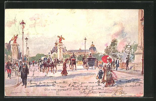 Künstler-AK Georges Stein: Paris, Le Pont Alexandre III.