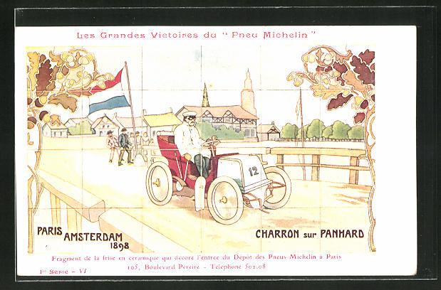 AK Autorennen Paris-Amsterdam 1898, Reklame Michelin
