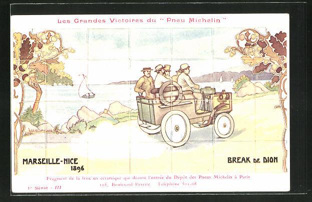 AK Autorennen Marseille-Nice 1896, Reklame Michelin