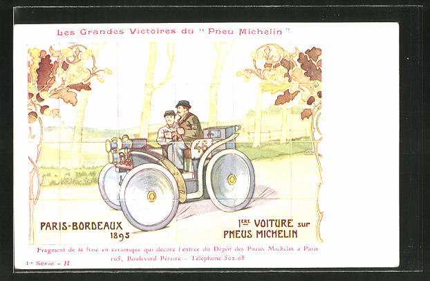 AK Autorennen Paris-Bordeaux 1895, Reklame Michelin