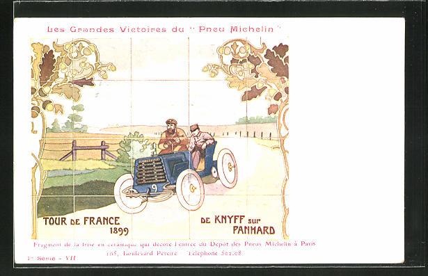 AK Autorennen Tour de France 1899, Reklame Michelin