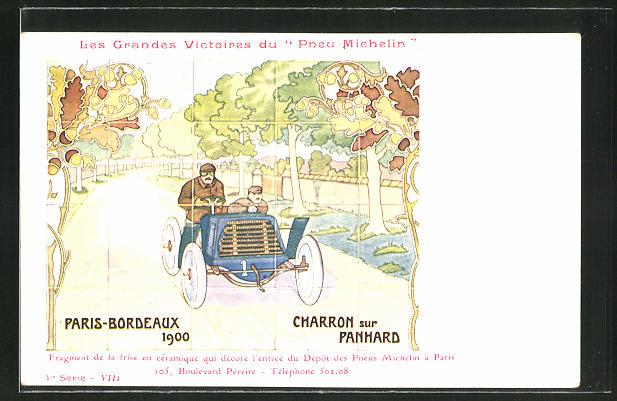 AK Autorennen Paris-Bordeaux 1900, Reklame Michelin