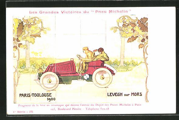 AK Autorennen Paris-Toulouse 1900, Reklame Michelin