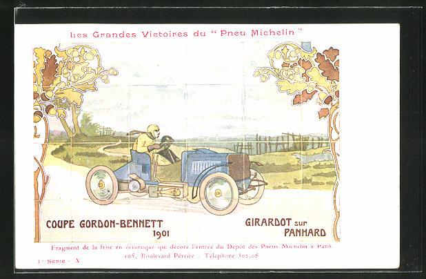 AK Autorennen Coupe Gordon-Bennett 1901, Reklame Michelin