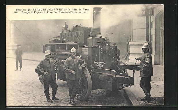 AK Paris, Feuerwehrleute an ihrer Gerätschaft