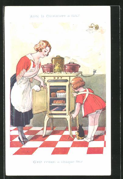 AK Mutter mit Kind backen Kuchen im Ofen
