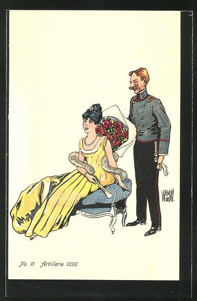 AK schweizer Soldat in Uniform der Artillerie bringt hübschem Mädchen ein Rosenstrauss 1890