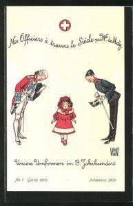AK zwei Soldaten in schweizer Uniformen im 19. Jahrhundert mit kleinem Mädchen