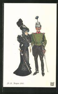 AK schweizer Soldat in Uniform der Dragoner mit hübscher jungen Frau 1900