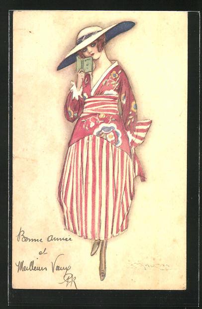 Künstler-AK Mauzan: toll gekleidete junge Frau mit Hut und Buch in der Hand