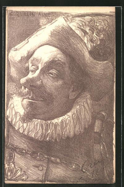 Künstler-AK Charles Denizard (Orens): Französischer Schauspieler Coquelin Aine, Karikatur