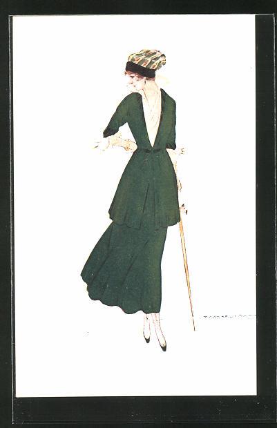 Künstler-AK Tito Corbella: elegant gekleidete Frau im grünen Kleid