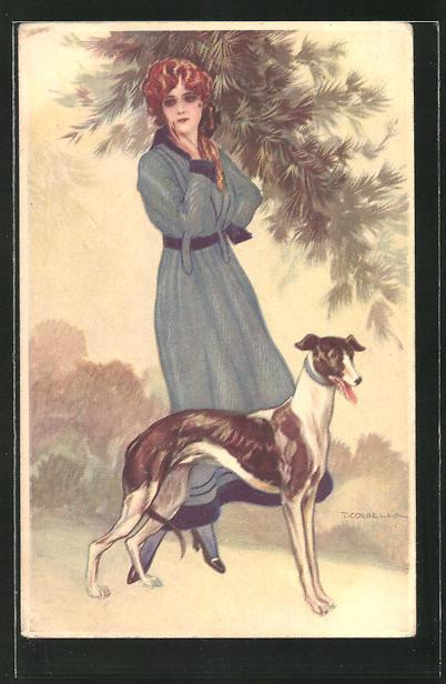 Künstler-AK Tito Corbella: elegante Frau mit Windhund