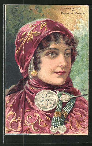 AK Chilienne, Collection des Biscuits Pernot, Kekse, Jugendstil