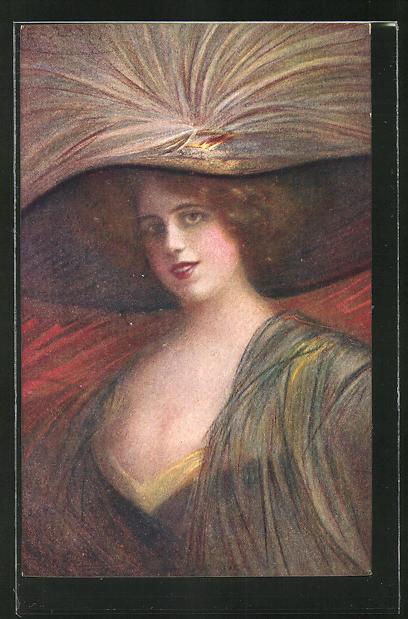 Künstler-AK G. Guerzoni: Vollbusige Frau mit Dekollete und Hut