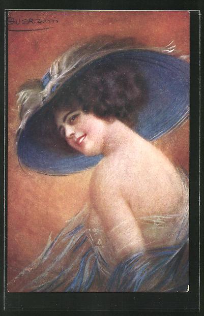 Künstler-AK G. Guerzoni: Frau mit Hut und freiem Rücken im Kleid