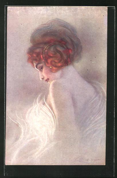 Künstler-AK G. Guerzoni: Frau mit Hochsteckfrisur im Kleid