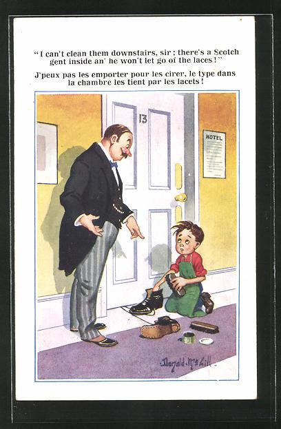 Künstler-AK Donald McGill: I cant clean them downstairs sir