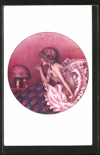 Künstler-AK Xavier Sager: Frau mit Zigarette im Bett