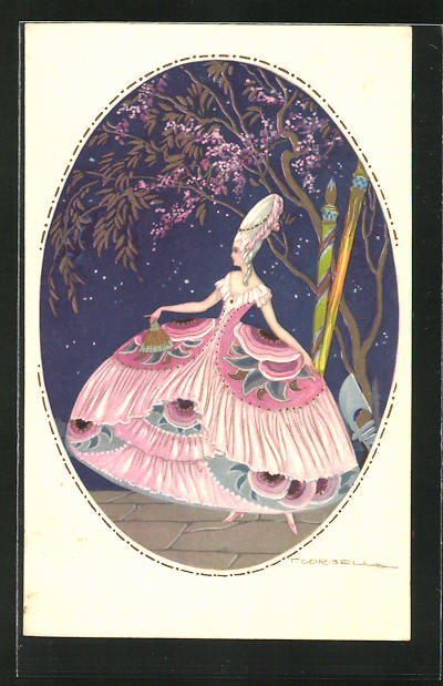 Künstler-AK Tito Corbella: junge Frau im tollen Kleid untern Baum