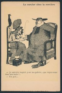 AK Le sorcier chez la sorciere, Anti-Katholizismus, alte Dame liest fettem Geistlichen aus der Hand