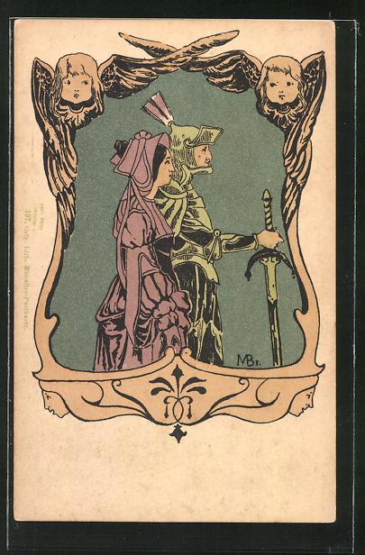 AK Mann in Ritterrüstung samt Schwert und Frau in Tracht im Profil im Engel-Passepartout, Jugendstil