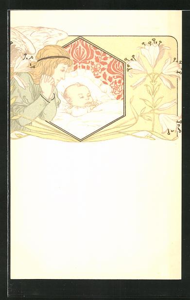 AK Engel schaut Neugeborenem beim Schlafen zu, Jugendstil