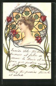 Passepartout-AK Junge Dame von Blumen umgeben, Jugendstil