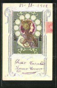 Präge-AK , Dame im Passepartout im Profil, Jugendstil